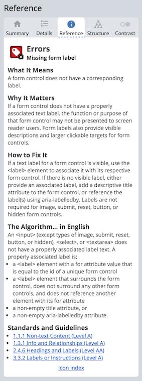 Détails sur une erreur incluant la raison pourquoi c'est important, comment la réparer et l'algorithme utilisé pour trouver l'erreur et les standards et règles liés.