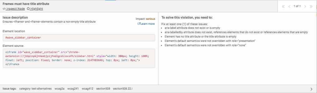 Problème aXe avec des snippets du code de l'erreur et les instructions pour la réparer.