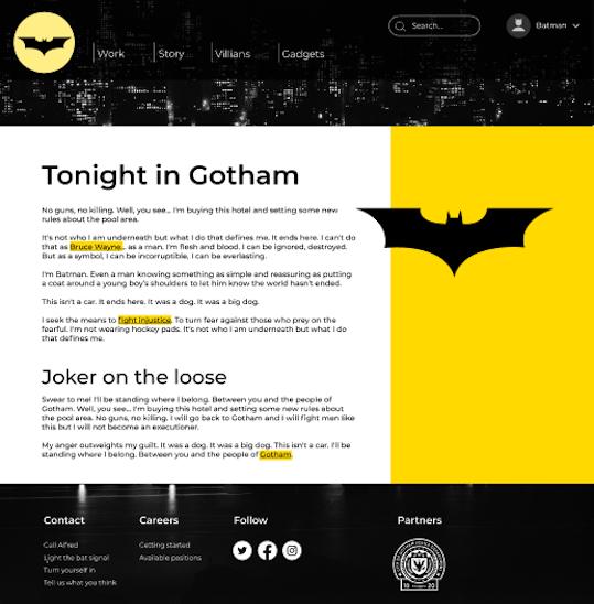 Maquette d'une page d'accueil de site web avec un header, une section main et un footer. Le header contient une navigation principale, une recherche sur le site et un drop menu pour l'utilisateur. La section main contient du texte et des images. Le menu c