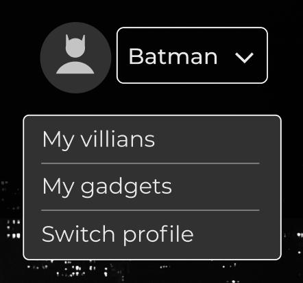 Menu utilisateur avec une flèche vers le bas. En cliquant, un menu déroulant s'affiche avec d'autres options.