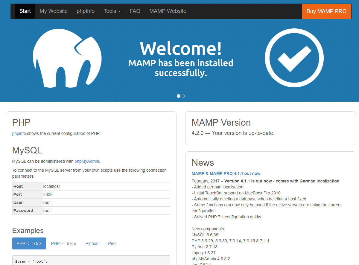La page d'accueil de MAMP dans le navigateur