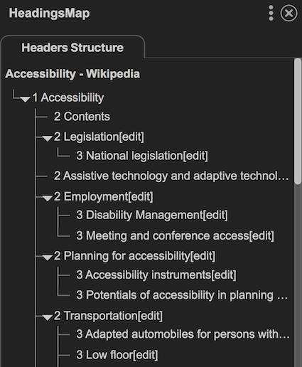 Extension Chrome HeadingsMap qui montre la structure des titres de la page Wikipedia sur l'accessibilité, présentée sous forme d'une liste testée.