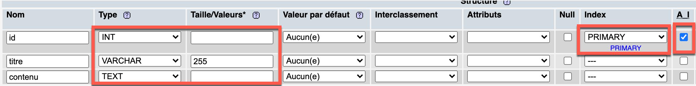 Création d'une table MySQL