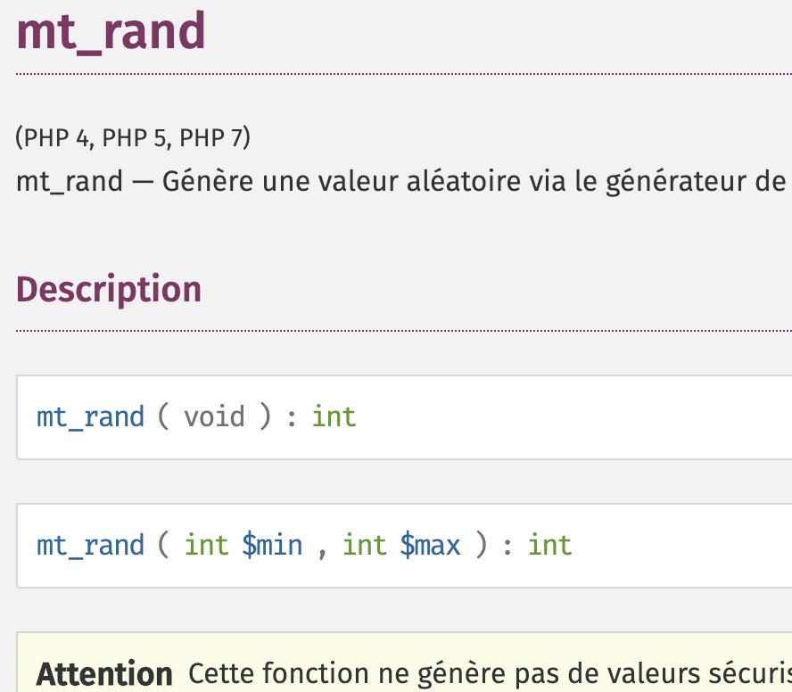 Présentation de la fonction mt_rand