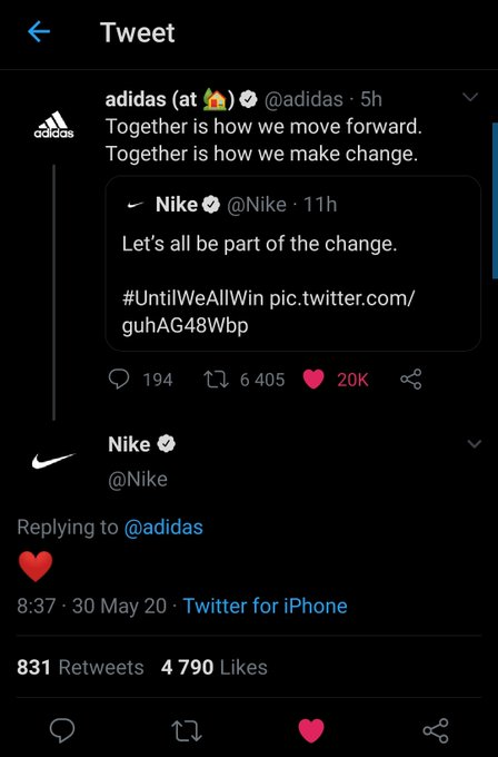Two competing brands start a dialogue together around unity.