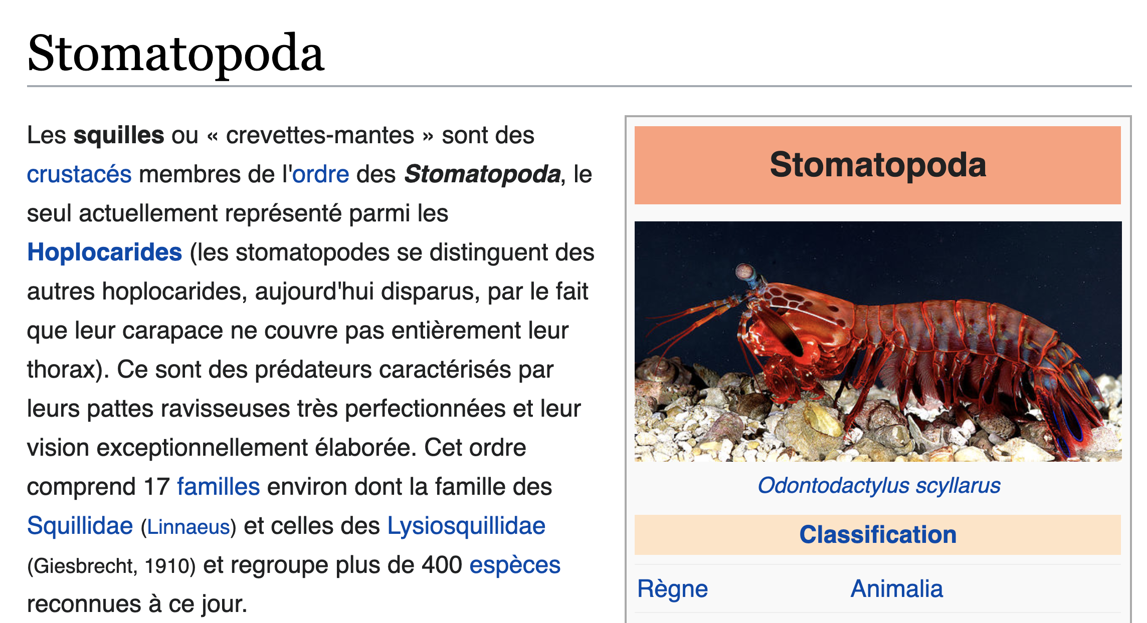 Article Wikipedia montrant un paragraphe de texte avec des liens dans le texte identifiés par une couleur bleue.