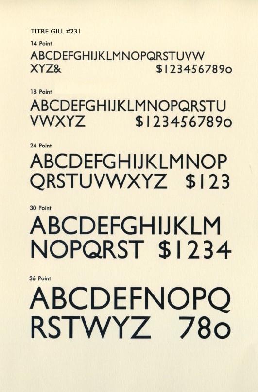 Police Gill Sans typeface de plusieurs tailles différentes. La typographie est une humaniste  sans serif, géométrique basée sur des majuscules Romaines, donnant des apertures. Les épaisseurs de trait sont toutes égales.