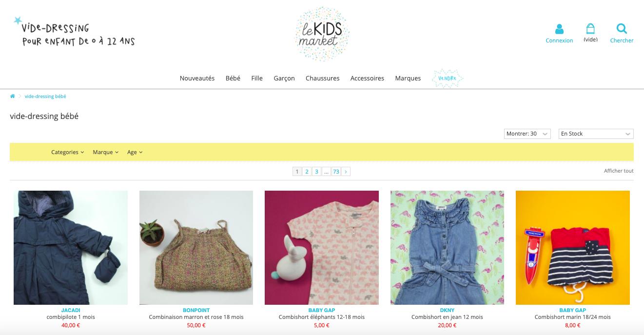 Capture d'écran de la page d'accueil du site Le Kids Market, vide dressing en ligne pour vêtements enfants / bébés