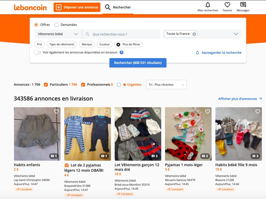 Capture d'écran du site Le Bon Coin, avec une requête de recherche