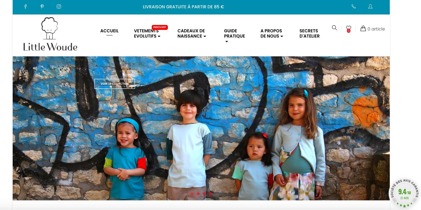 Capture d'écran du site Little-Woude, spécialisé dans les vêtements pour enfants