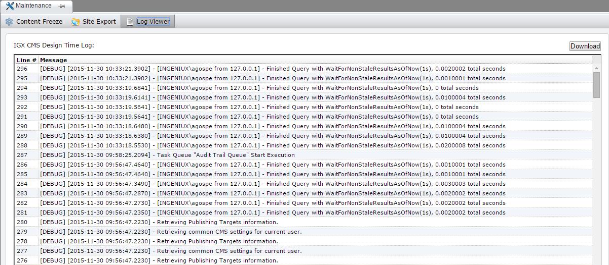 Capture d'écran avec une liste de messages concernant les temps d'exécutions de tâches sur un serveur.