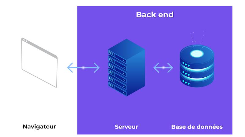 Le Navigateur communique avec le serveur qui communique avec la base de données. Le serveur et la BDD forment le back end.