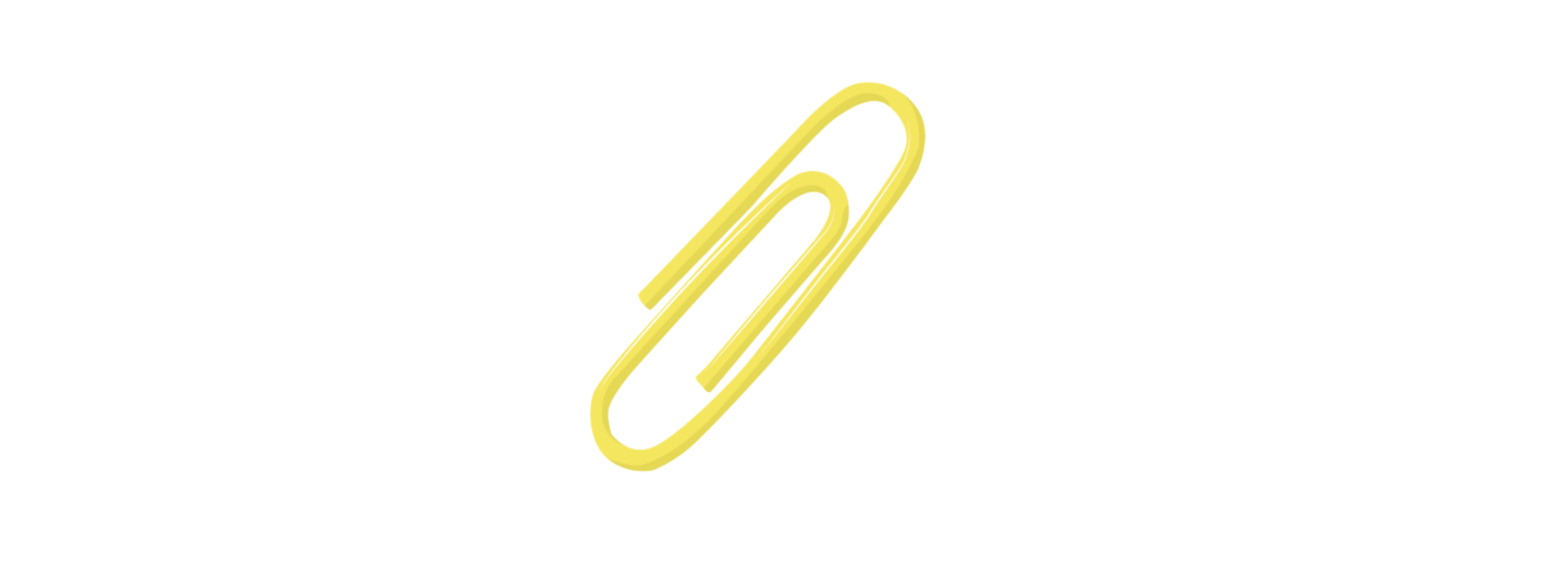 Several paperclips lined up, including the last one, and illustrated like a light bulb, symbolizing an idea.
