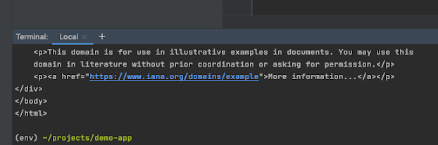 The Command Line view in PyCharm