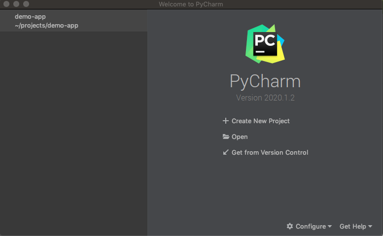 Opening a project with PyCharm.