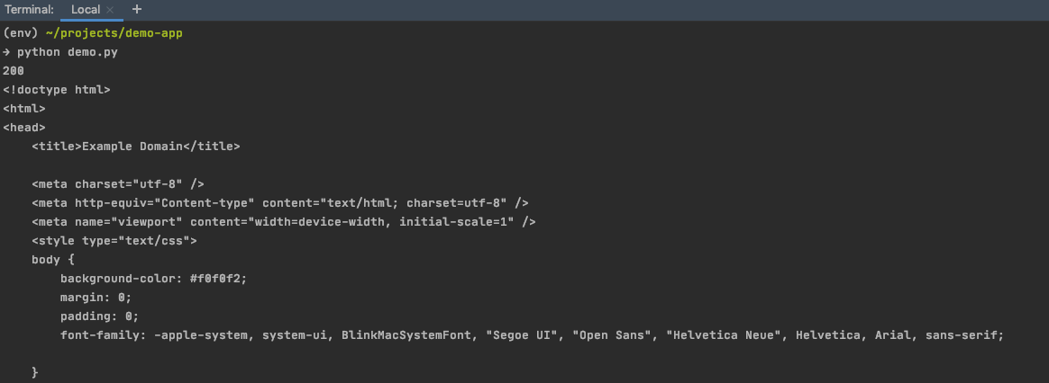 Running a script with PyCharm terminal.