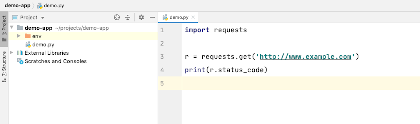 PyCharm with the Classic Light Color Scheme.