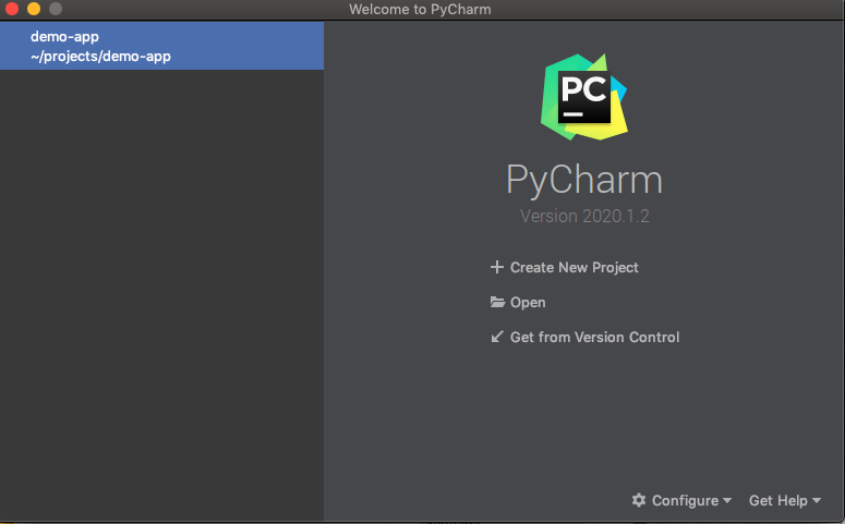 The PyCharm welcome screen.