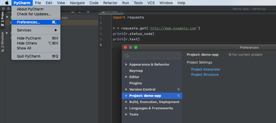 Setting preferences in PyCharm.