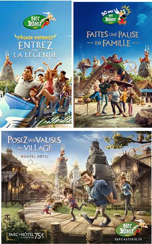 Exemple de différentes affiches du Parc Asterix. Titre des affiches : entrez dans la légende, faites une pause en famille, posez vos valises au village