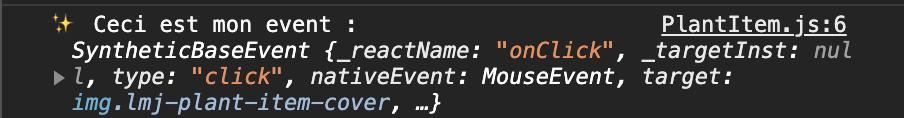 Le console.log nous dévoile que cet événement est un événement synthétique.