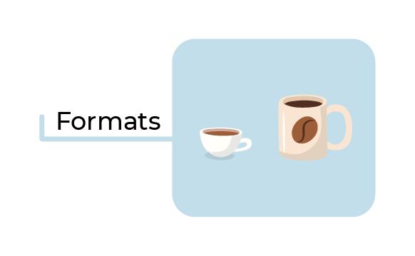 Illustration d'une petite tasse de café et d'un mug rempli de café avec le texte : formats