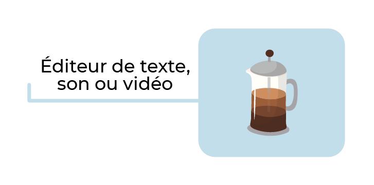 Illustration d'une machine à café avec le texte : éditeurs de texte, son ou vidéo