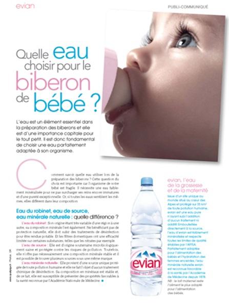 Evian invite ici le consommateur à privilégier son eau pour les nourrissons en détaillant les bienfaits de l'eau minérale naturelle.