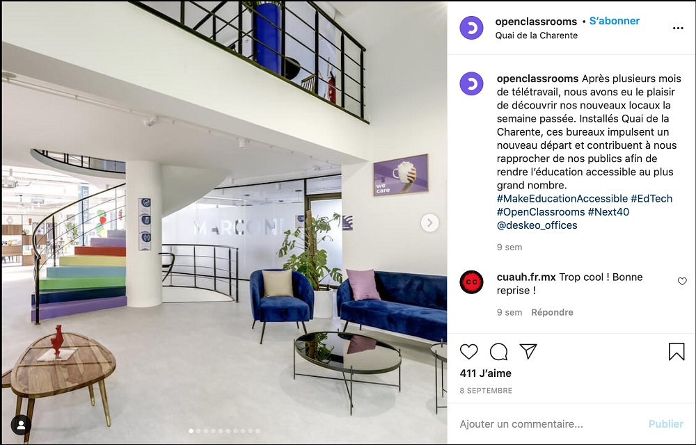 Screenshot d'un post Instagram d'Openclassrooms présentant leurs nouveaux locaux