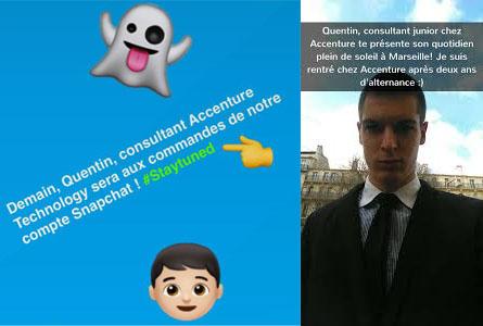 Un scheenshot de SnapChat où l'on voit une image de Quentin et un texte de présentation