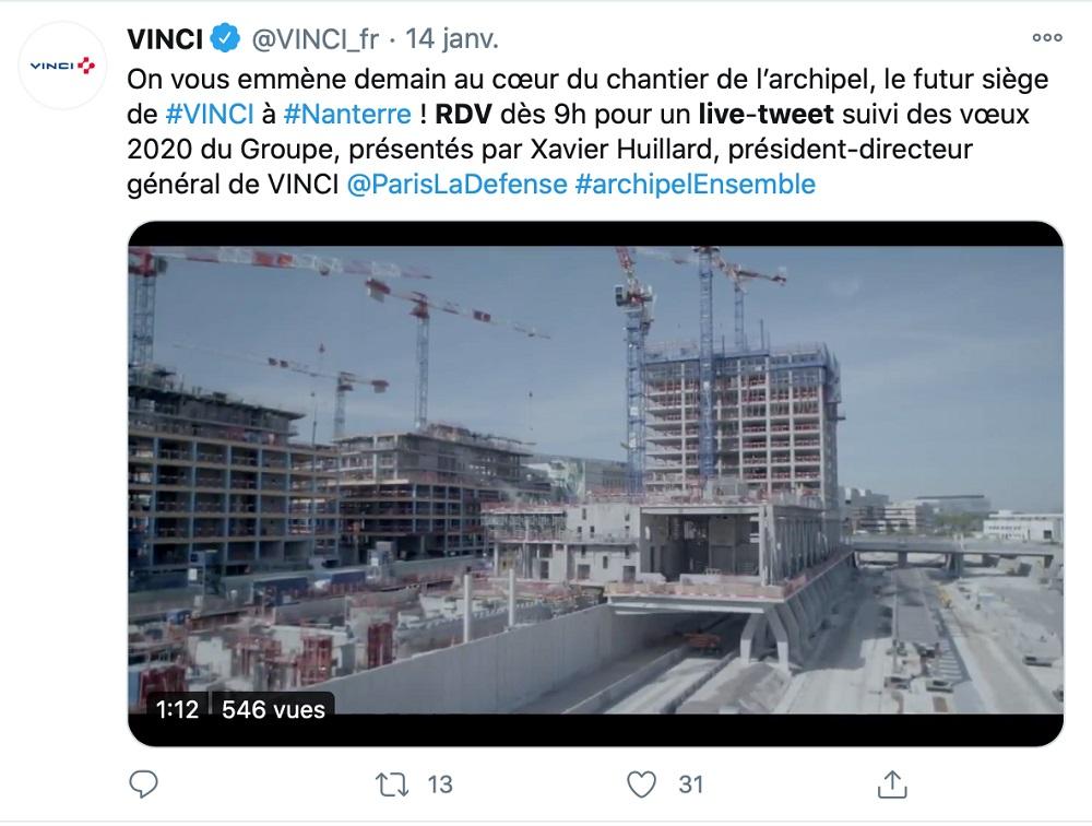 Un exemple de tweet, limité à 280 caractères, de Vinci.
