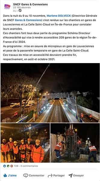 Screnshoot d'un post Facebook de la SNCF