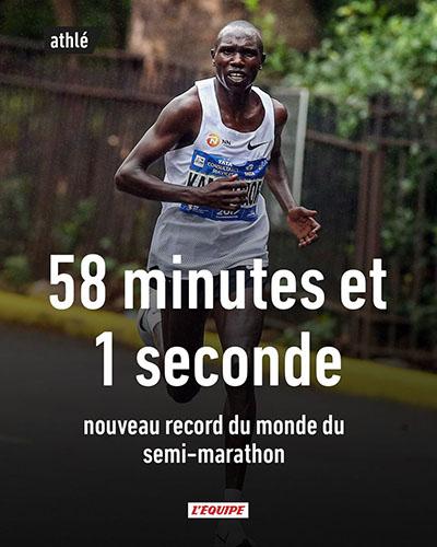 Une photo d'un marathonien avec comme titre 58 minutes et 1 seconde nouveau record du monde du semi-marathon