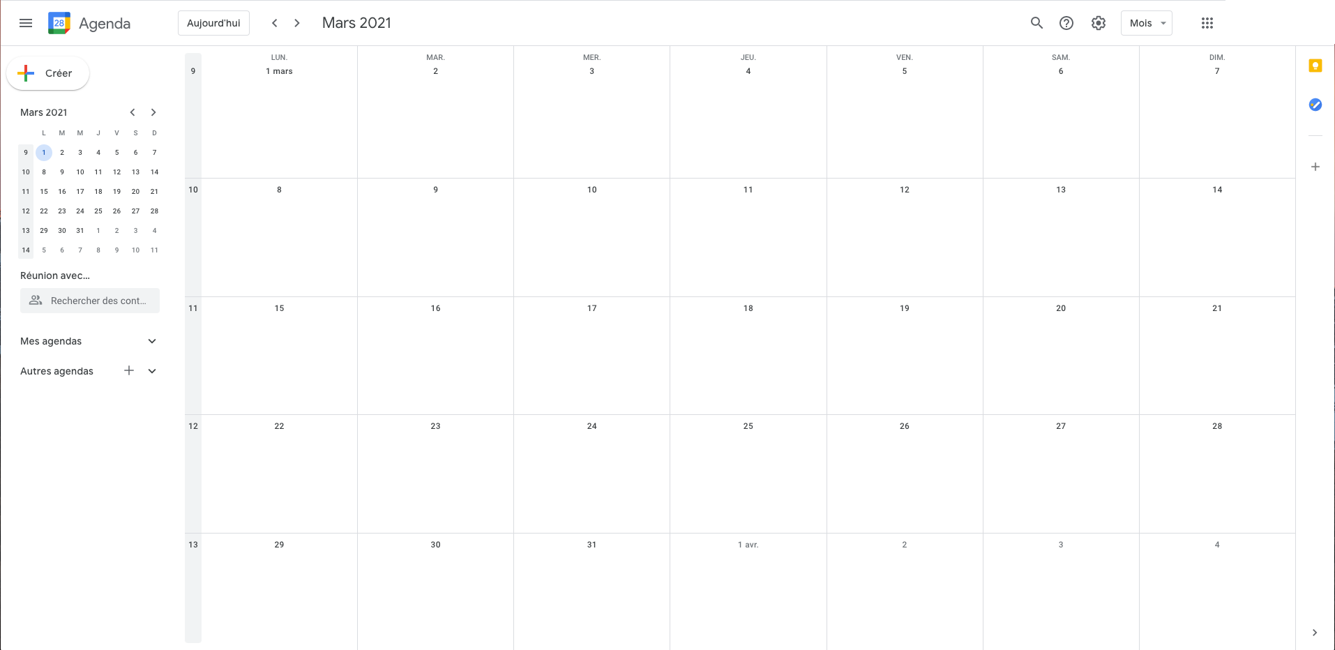 Screenshot d'un calendrier vide sur Google Calendar