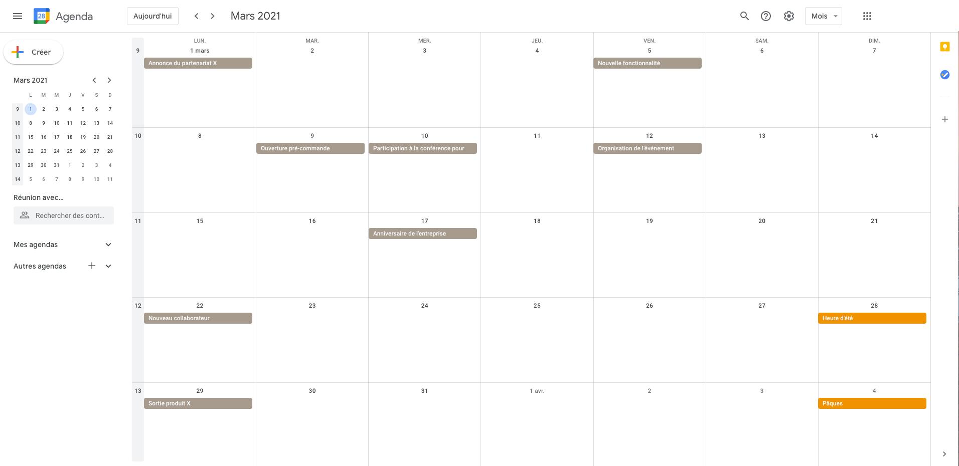 Screenshot d'un calendrier avec une trame sur Google Calendar