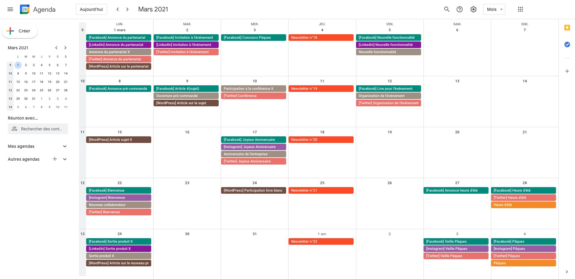 >Screenshot d'un calendrier de diffusion en train d'être renseigné sur Google Calendar