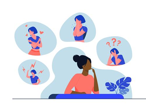 Illustration d'une femme avec des bulles au-dessus de sa tête. Dans chacune d'une, une femme avec une émotion différente : colère, amour, tristesse, interrogation