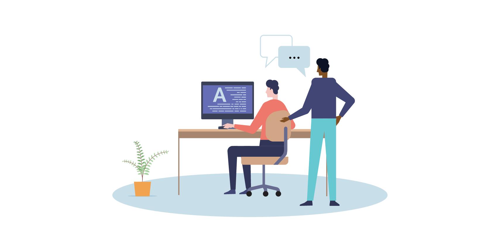 illustration de deux hommes qui relisent un texte devant un écran d'ordinateur