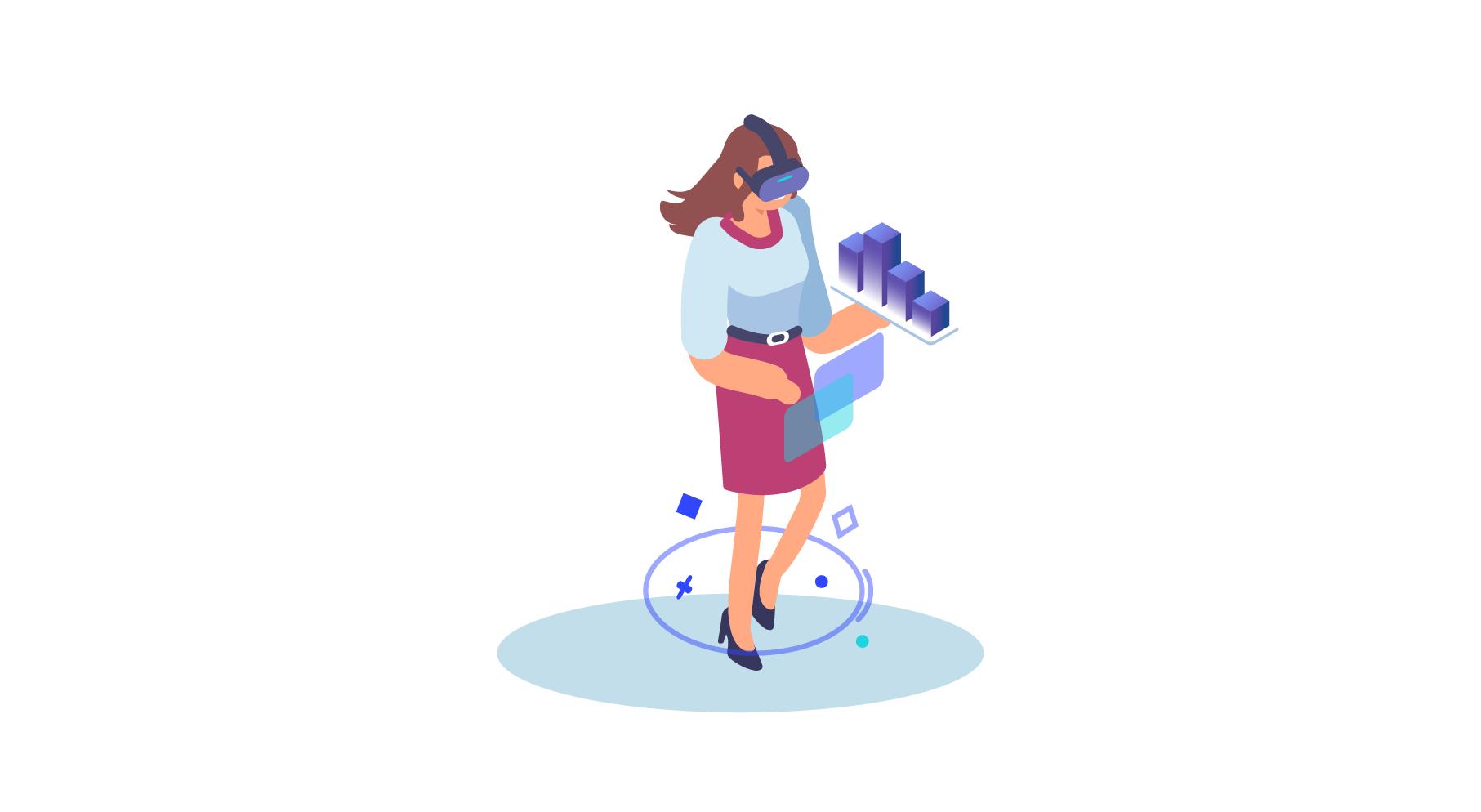 Illustration d'une femme portant un casque de réalité virtuelle