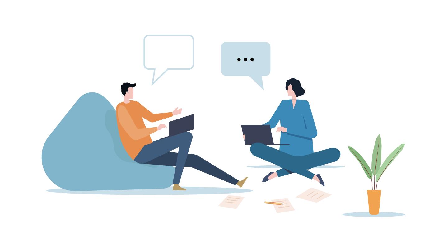Illustration de deux personnes qui discutent dans un bureau