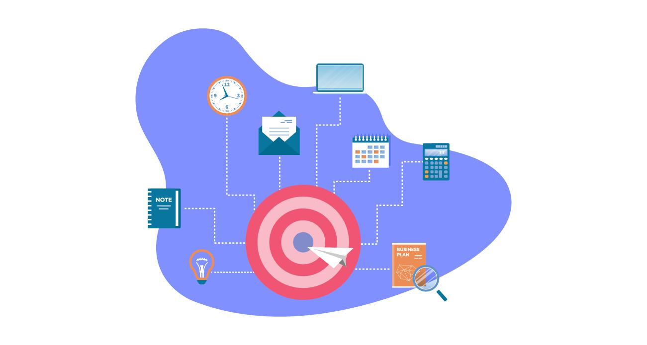 Image avec beaucoup d'icônes représentant différent documents dans un environnement de travail, rassemblés autour d'une cible.