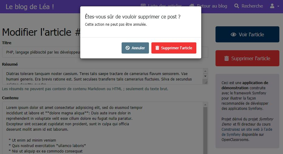 Suppression d'un article du Blog de Léa