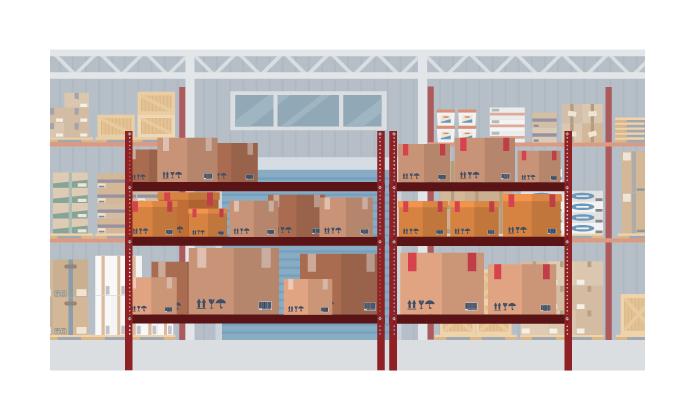 illustration d'un entrepôt avec des cartons posés sur des étagères.