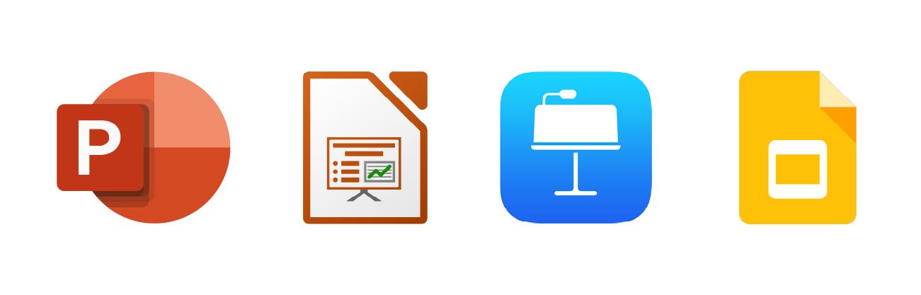 Logos de : Powerpoint, Keynote, Google Slides, Office Impress.