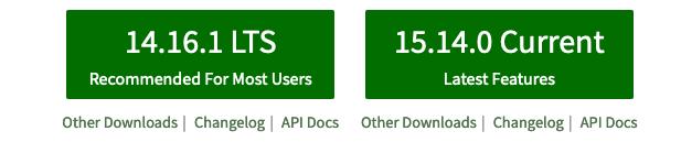 Capture d'écran des boutons de téléchargement de NodeJS