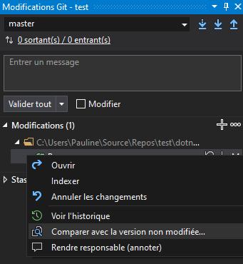 La fenêtre Modifications Git
