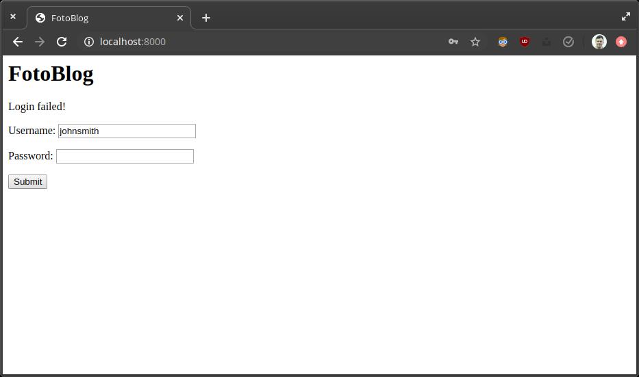 Screenshot of a failed login