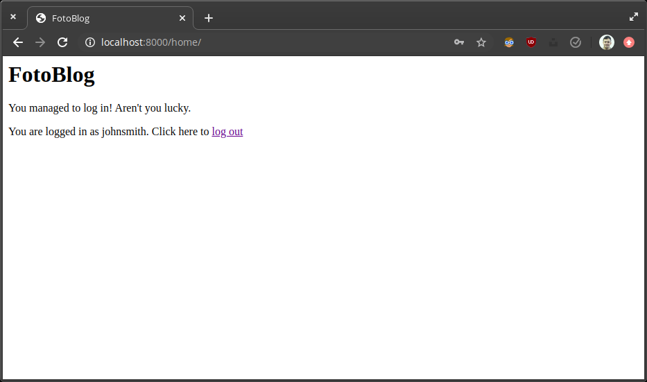 Screenshot of a logged in page
