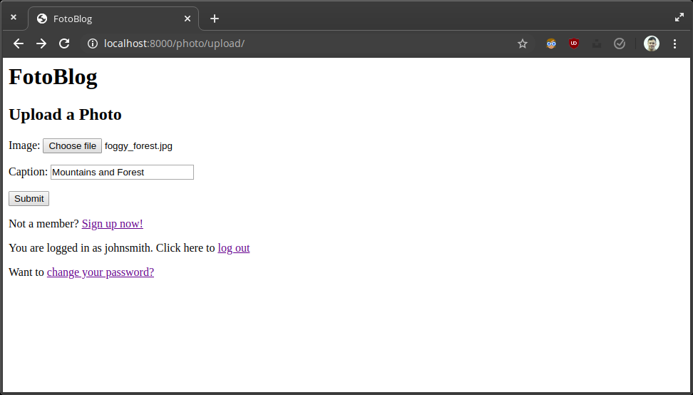 Screenshot of an upload page