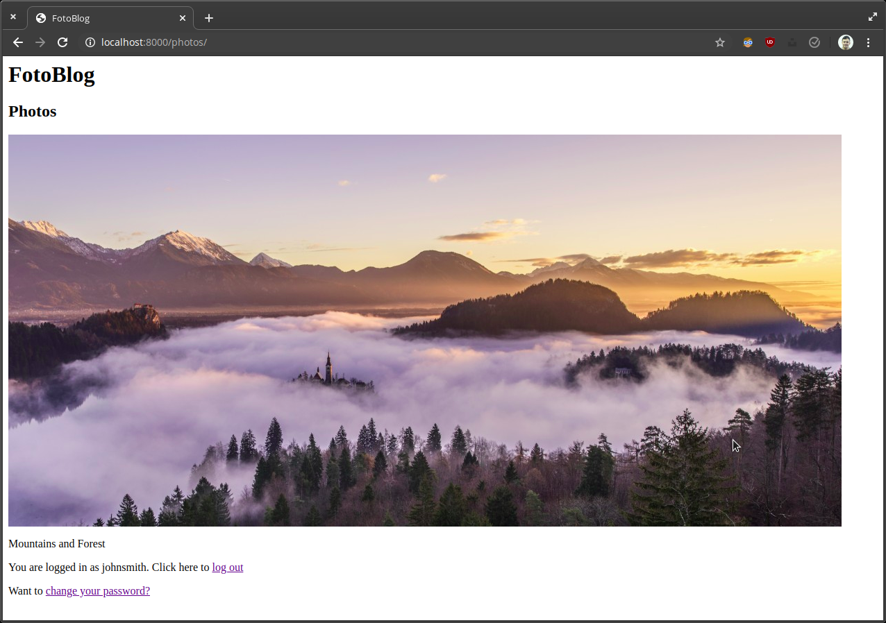Screenshot of feed page